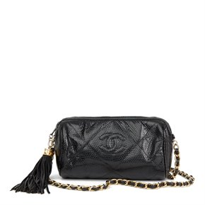 Chanel Black Quilted Lizard Leather Vintage Timeless Fringe Shoulder Pochette