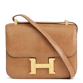Hermès Sesame Shiny Lizard Leather Vintage Constance 23