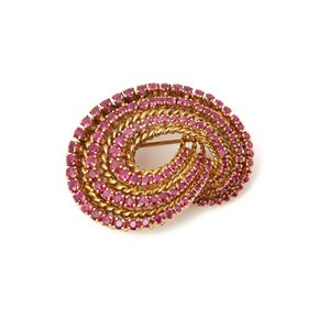 Tiffany & Co. 18k Yellow Gold Ruby 1940's Vintage Brooch