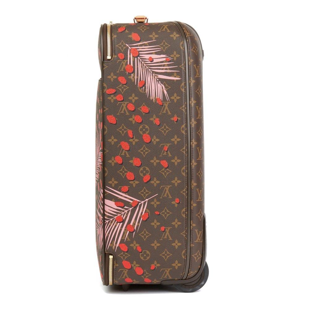 Louis Vuitton Brown Monogram Sugar Pink Poppy Jungle Coated Canvas Pégase Légère 55