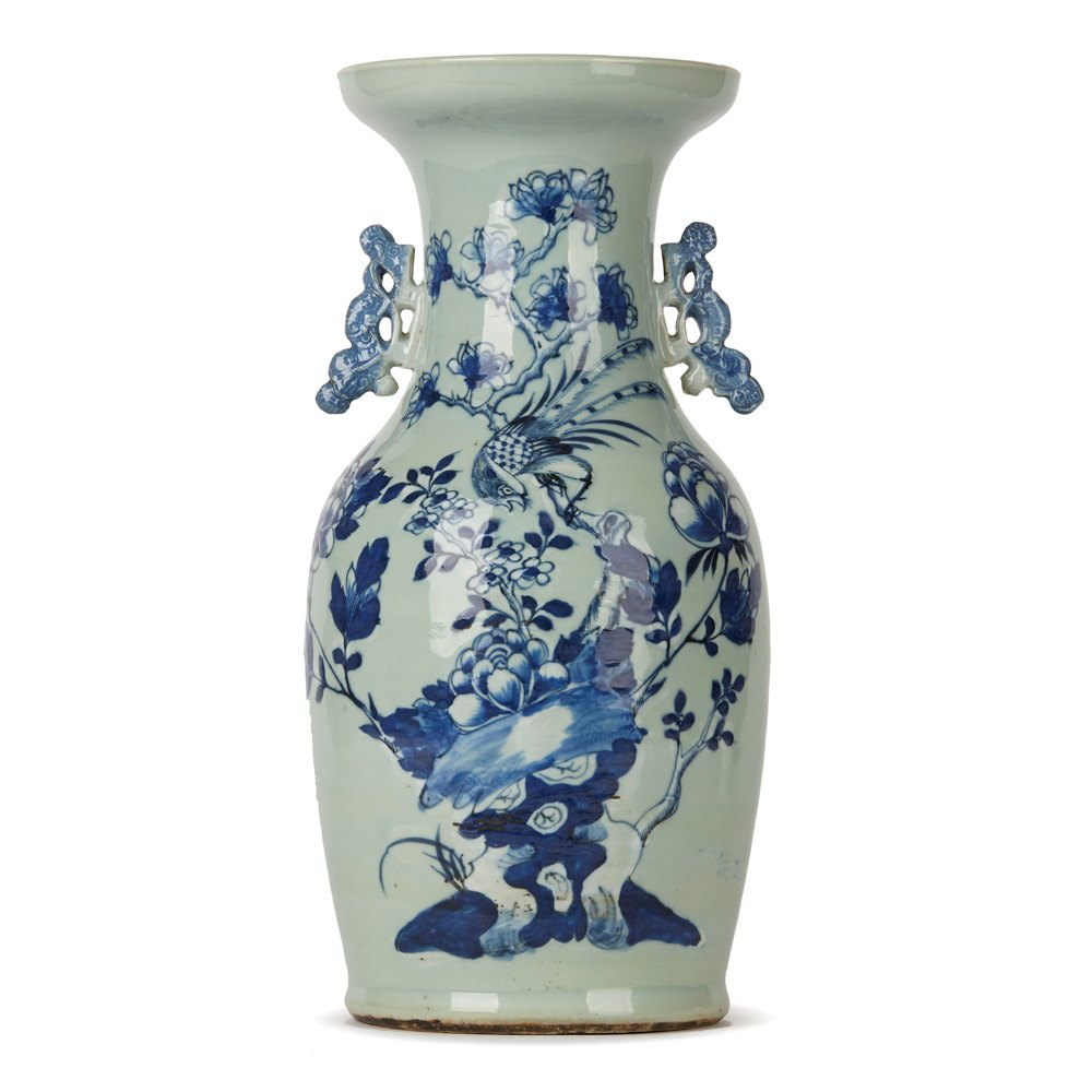 CHINESE QING BLUE & WHITE CELADON BIRD DECORATED VASE 19TH C. Qing Dynasty, 19th Century