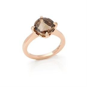Cartier 18k Rose Gold Smoky Quartz Lotus Ring