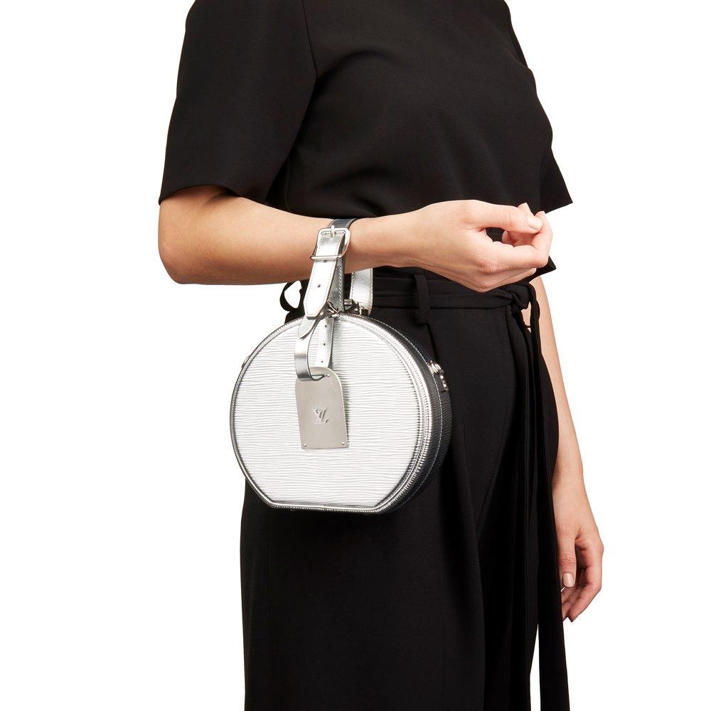 Louis Vuitton Silver Metallic Epi Leather Petite Boite Chapeau