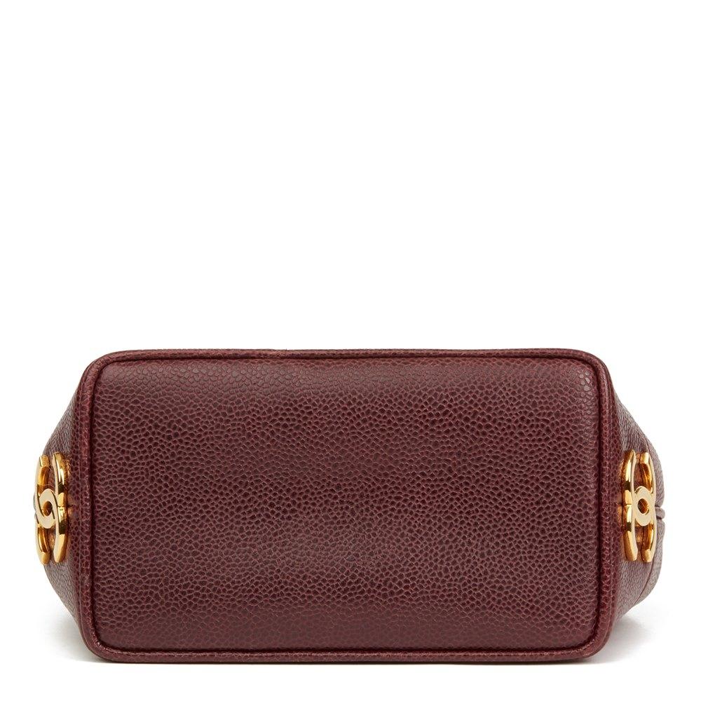 Chanel Plum Caviar Leather Vintage Logo Trim Bucket Bag