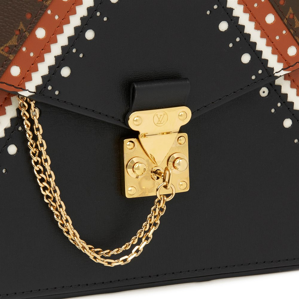 Louis Vuitton Brown, Black, White Calfskin Leather & Brown Monogram Coated Canvas Brogue Pochette Metis