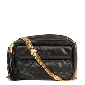 Chanel Black Quilted Lambskin Vintage Timeless Fringe Shoulder Bag