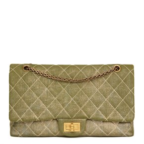 Chanel Khaki Metallic Coated Denim 2.55 Reissue 227 Double Flap Bag
