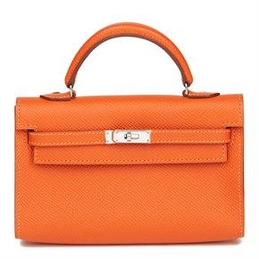 Hermès Orange H Epsom Leather Kelly Tiny