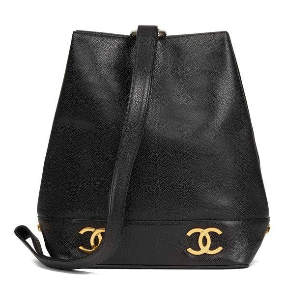 Chanel Black Caviar Leather Vintage Logo Trim Bucket Bag