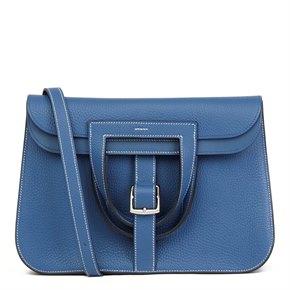 Hermès Blue Agate Clemence Leather Halzan 31cm