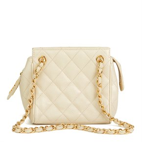 Chanel Beige Quilted Caviar Leather Vintage Mini Timeless Shoulder Bag