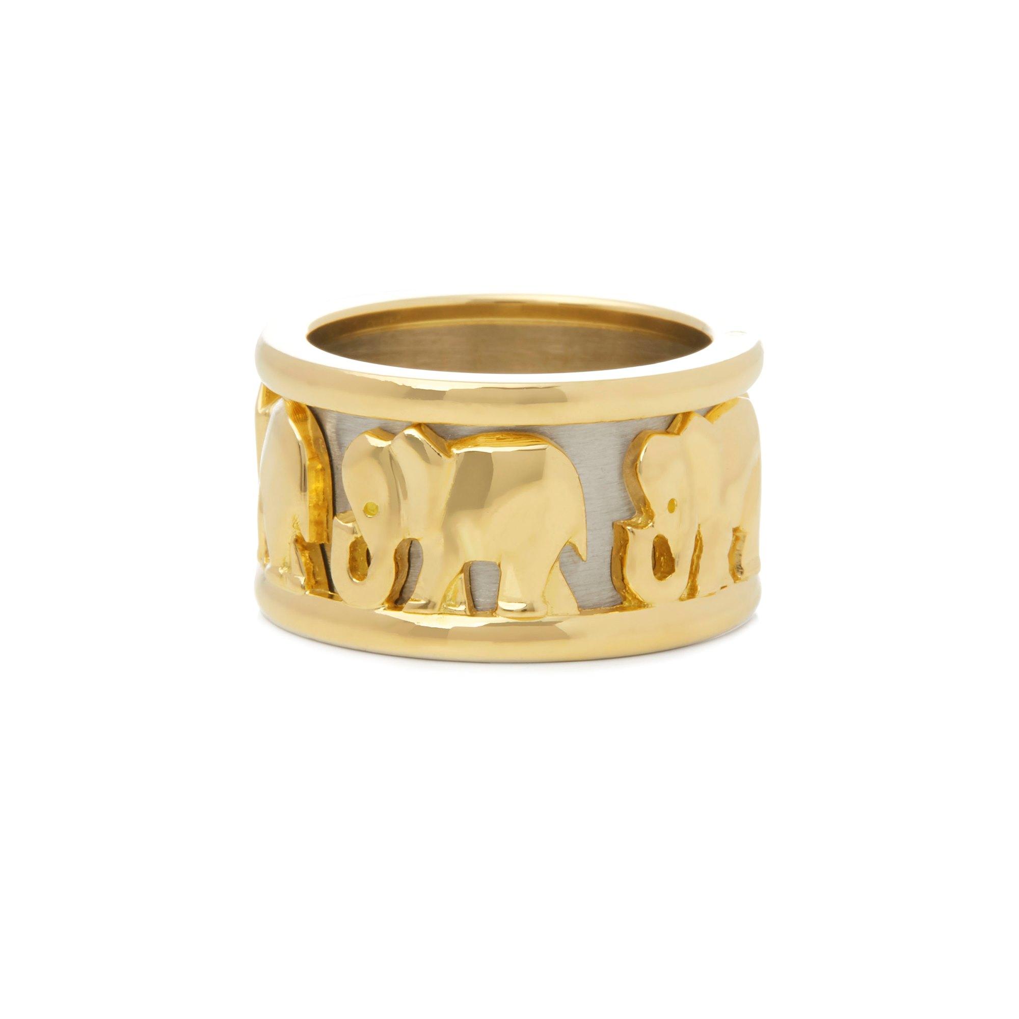 Cartier 18k Yellow & White Gold Pharaon Elephant Band Ring
