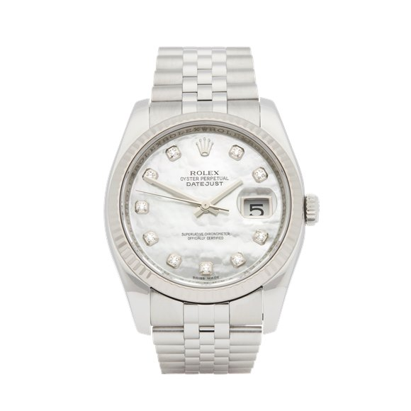 Rolex DateJust 36 Diamond Mother Of Pearl Stainless Steel & White Gold - 116234