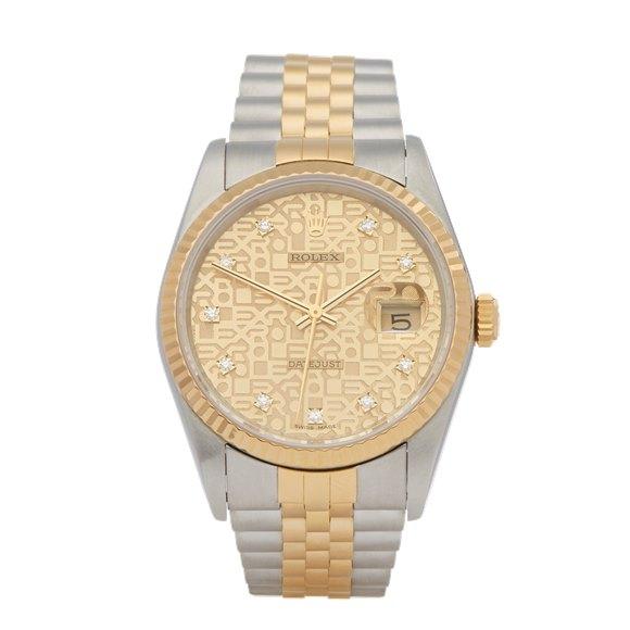 Rolex DateJust 36 Diamond Stainless Steel & Yellow Gold - 16233