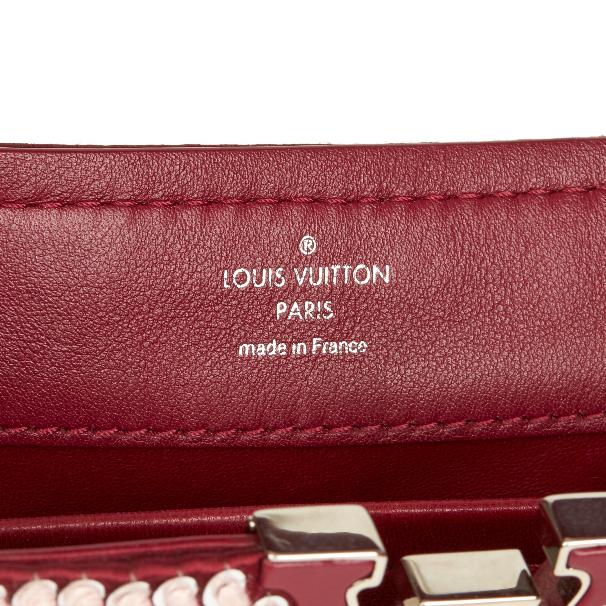 Louis Vuitton Burgundy Sequin Embellished Smooth Calfskin Leather Mini Capucines