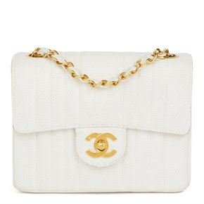 Chanel White Quilted Caviar Leather Vintage Mini Flap Bag