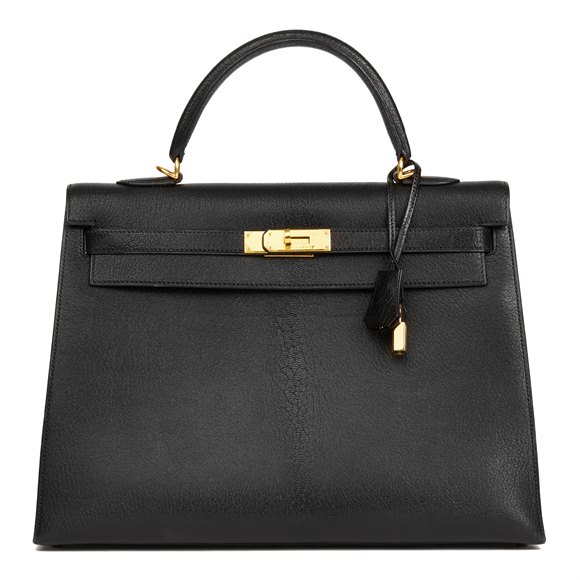 Hermès Black Chevre de Coromandel Leather Kelly 35cm Sellier