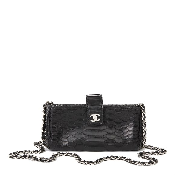 Chanel Black Python Leather Pouch-on-Chain POC