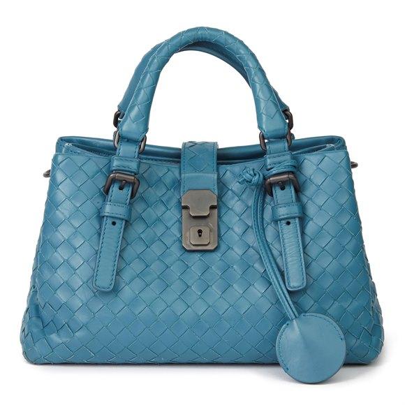 Bottega Veneta Blue Woven Calfskin Leather Mini Roma
