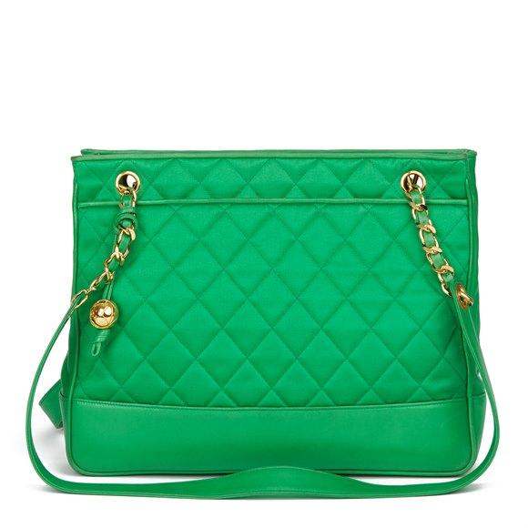 Chanel Green Quilted Satin & Lambskin Vintage Timeless Shoulder Bag