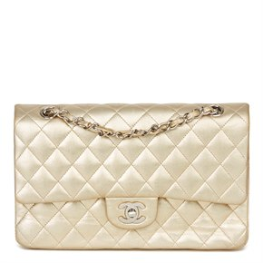 Chanel Gold Quilted Metallic Lambskin Medium Classic Double Flap Bag