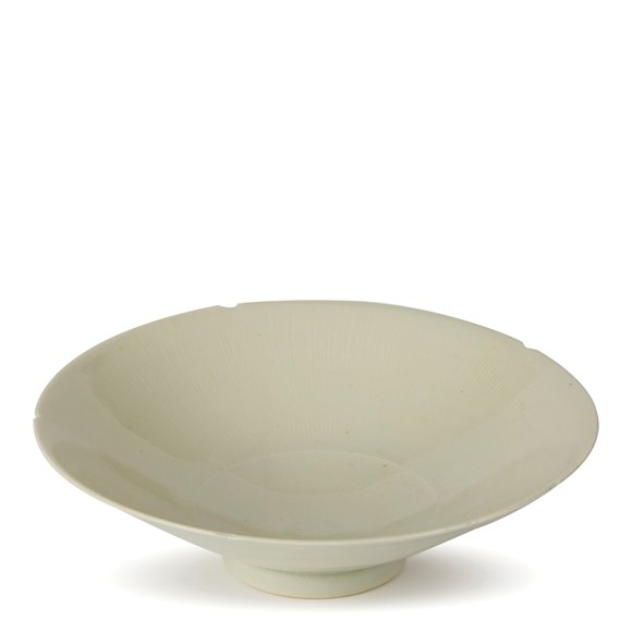 WILLIAM MEHORNAY STUDIO POTTERY WHITE CHATTER BOWL 1986