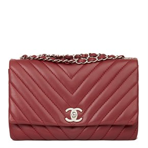 Chanel Burgundy Chevron Quilted Lambskin Classic Single Flap Bag
