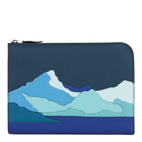 Hermès Bleu de Prusse & Bleu Electric Togo Leather Endless Road Zip Tablet Pochette