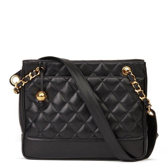Chanel Black Quilted Caviar Leather Vintage Medium Timeless Shoulder Bag