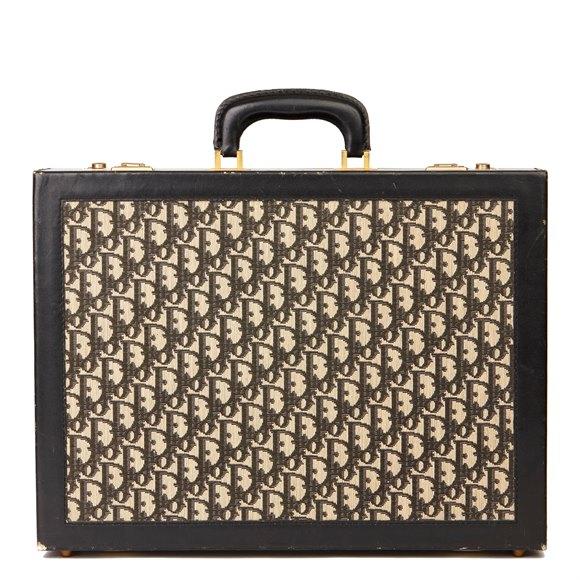 Christian Dior Black Monogram Canvas & Calfskin Leather Vintage Briefcase