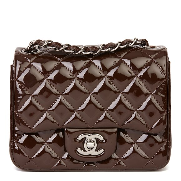 Chanel Chocolate Brown Quilted Patent Leather Mini Flap Bag