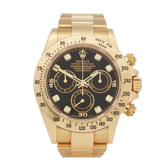 Rolex Daytona Diamond Chronograph 18K Yellow Gold - 116528