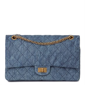 Chanel Blue Quilted Denim 2.55 Reissue 226 Double Flap Bag
