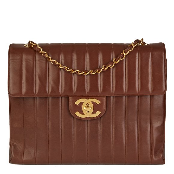 Chanel Chocolate Brown Vertical Quilted Lambskin Vintage Maxi Jumbo XXL Flap Bag