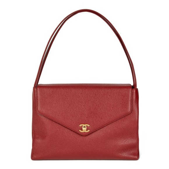 Chanel Burgundy Caviar Leather Leather Vintage Classic Shoulder Bag