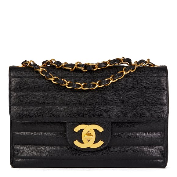 Chanel Black Vertical Quilted Caviar Leather Jumbo XL Flap Bag