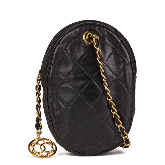 Chanel Black Quilted Lambskin Vintage  Timeless Charm Wristlet