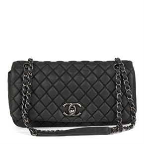 Chanel Dark Grey Bubble Quilted Velvet Calfskin Leather Small Bubble Flap Bag