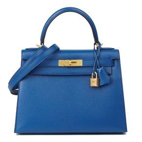 Hermès Bleu Saphir & Vert Emeraud Chevre Mysore Leather Special Order Kelly 28cm Sellier