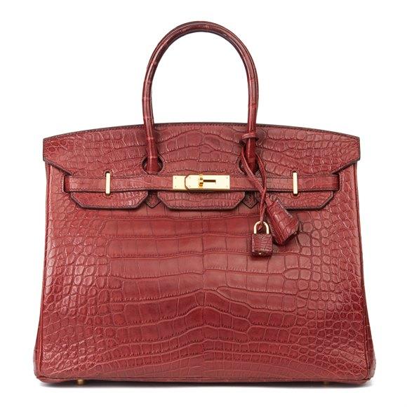 Hermès Rouge H Matte Mississippiensis Alligator Leather Birkin 35cm