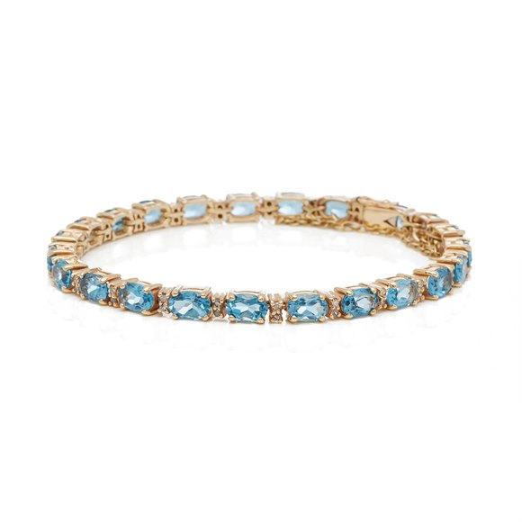 9k Yellow Gold Aquamarine & Diamond Bracelet