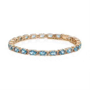 9k Yellow Gold Aquamarine & Diamond Bracelet