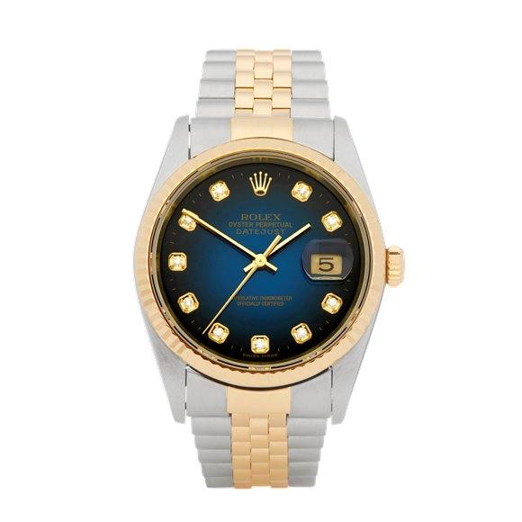 Rolex DateJust 36 Diamond Graduated Stainless Steel & Yellow Gold - 16223G