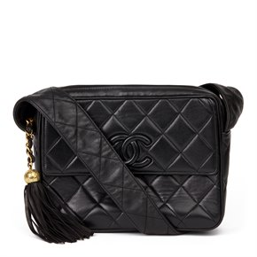 Chanel Black Quilted Lambskin Vintage Leather Logo Fringe Shoulder Bag