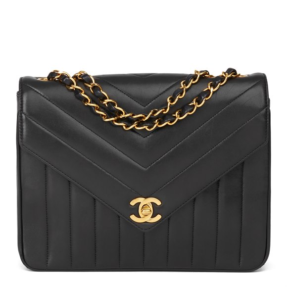 Chanel Black Chevron & Vertical Quilted Lambskin Vintage Classic Single Flap Bag