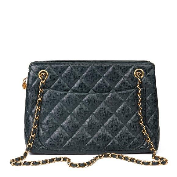 Chanel Forest Green Quilted Caviar Leather Vintage Timeless Shoulder Bag
