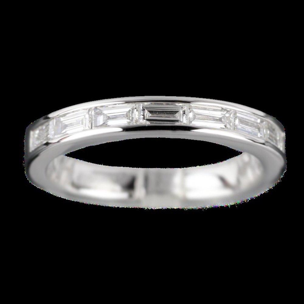 Mappin & Webb 18K White Gold Baguette 0.48 cts Diamond G VS1 Half Eternity Ring Size N