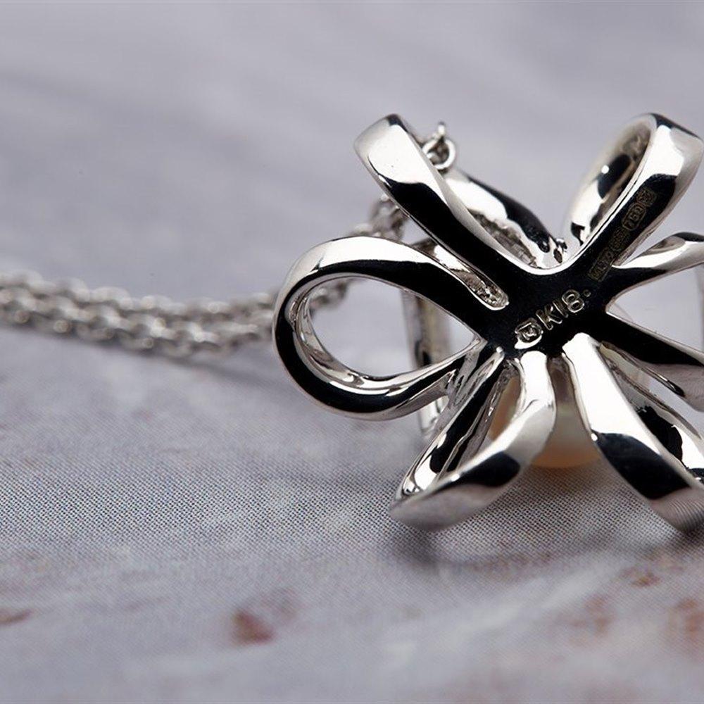 Mikimoto Blossom 18K White Gold Akoya Pearl Pendant Necklace