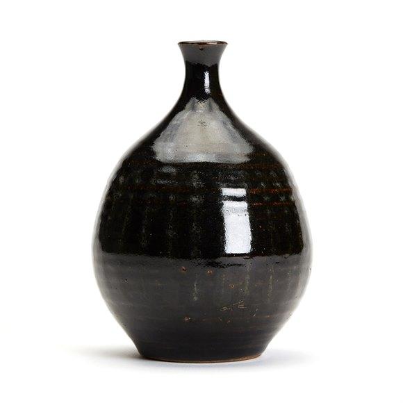 Antique Oriental/Japanese Tenmoku Glazed Stoneware Vase 18/19Th C.