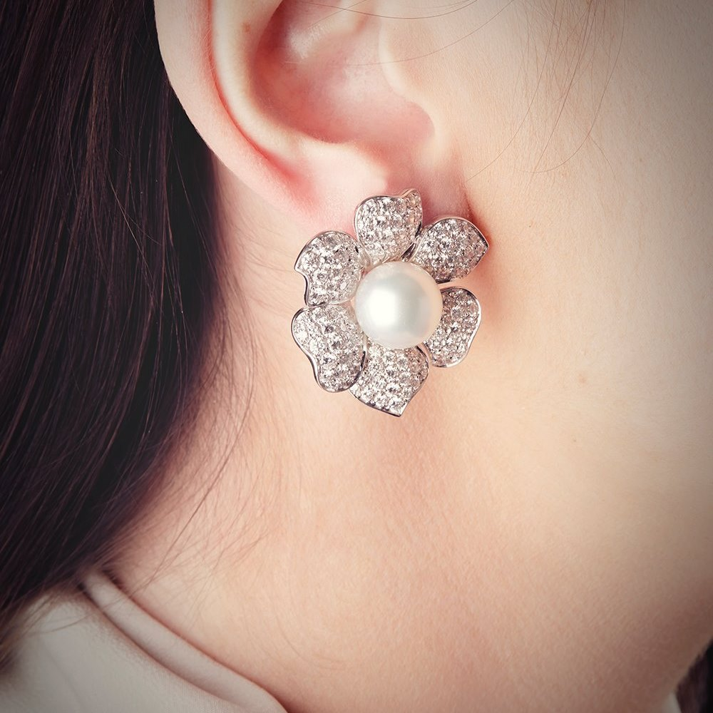 Picchiotti 18k White Gold South Sea Pearl & 7.20ct Diamond Flower Earrings